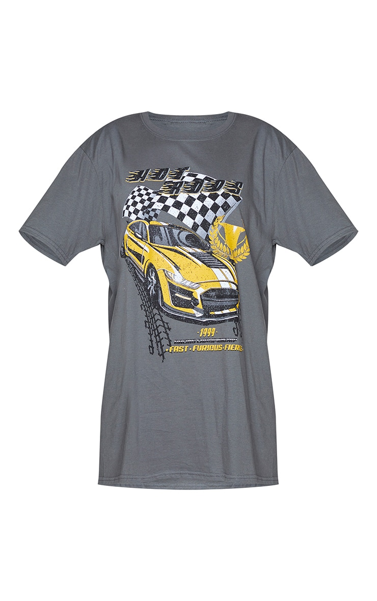 Charcoal Hot Rod Car Print T Shirt 5