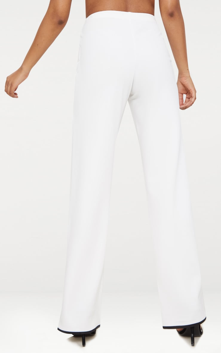 Petite White Binding Detail Wide Leg Trouser 4