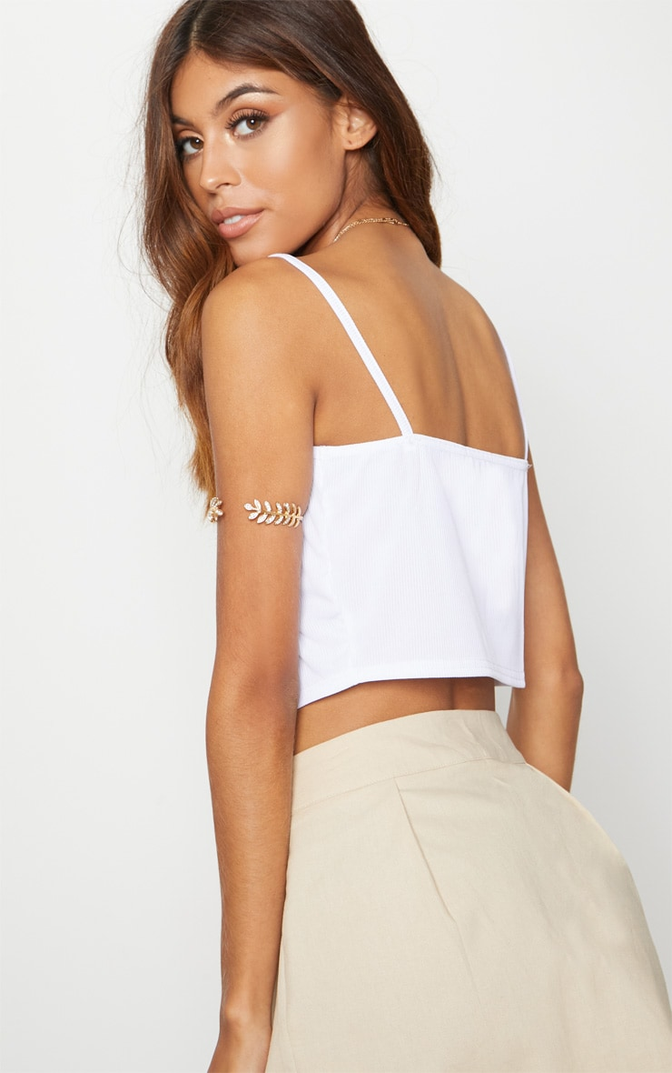 White Rib Cami Tie Front Crop Top 2