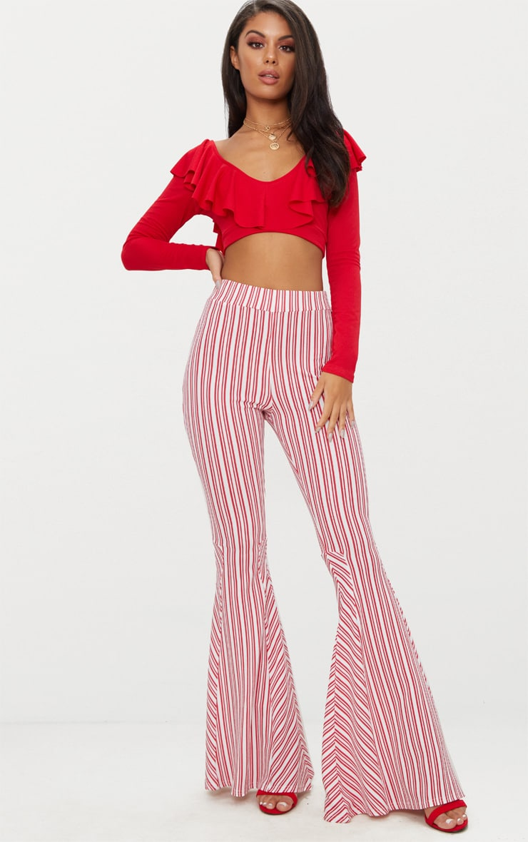 Red and White Stripe Extreme Flare Trouser 1