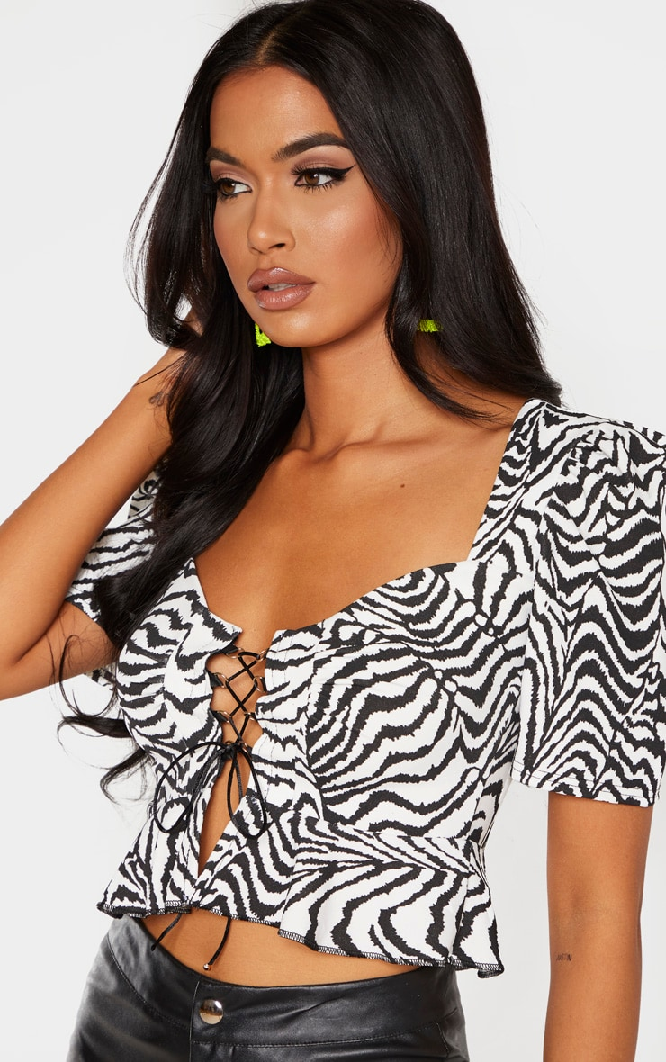 Mono Zebra Lace Up Cup Detail Top 5