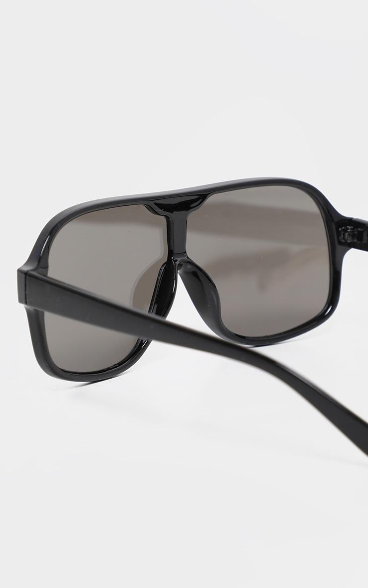 Black Frame Silver Lens Retro Round Sunglasses 3
