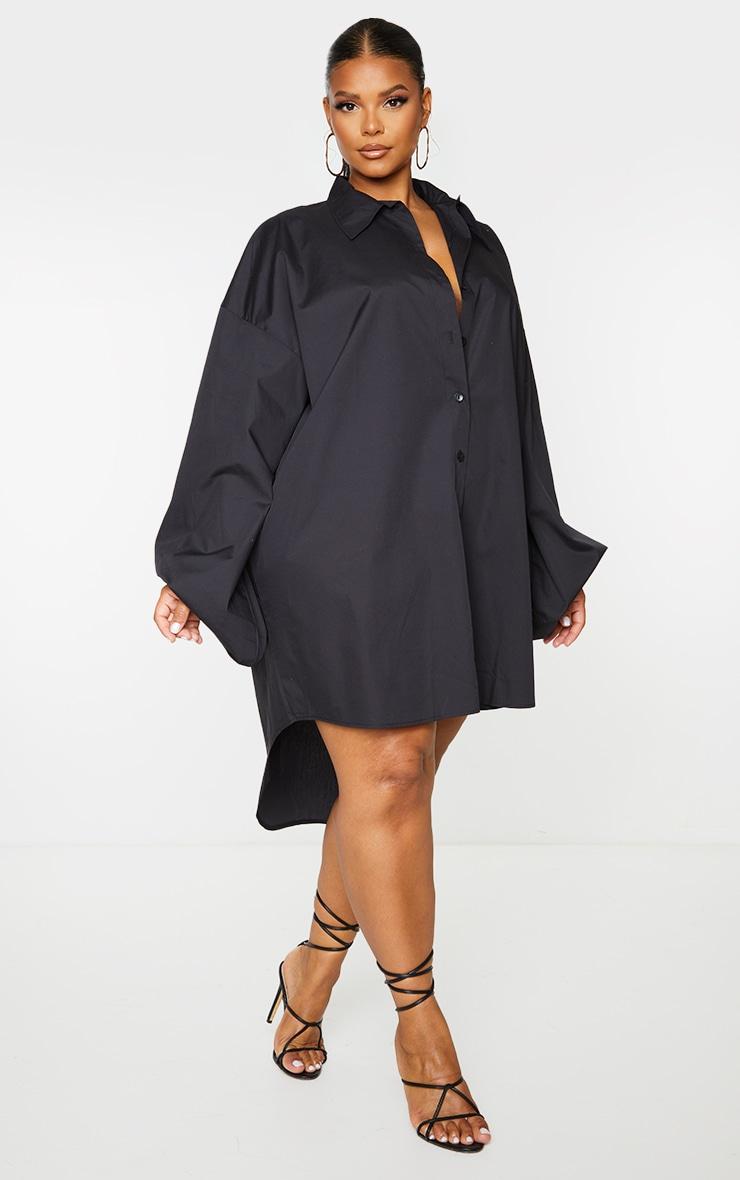 PLT Plus - Robe chemise noire à manches ballon 1