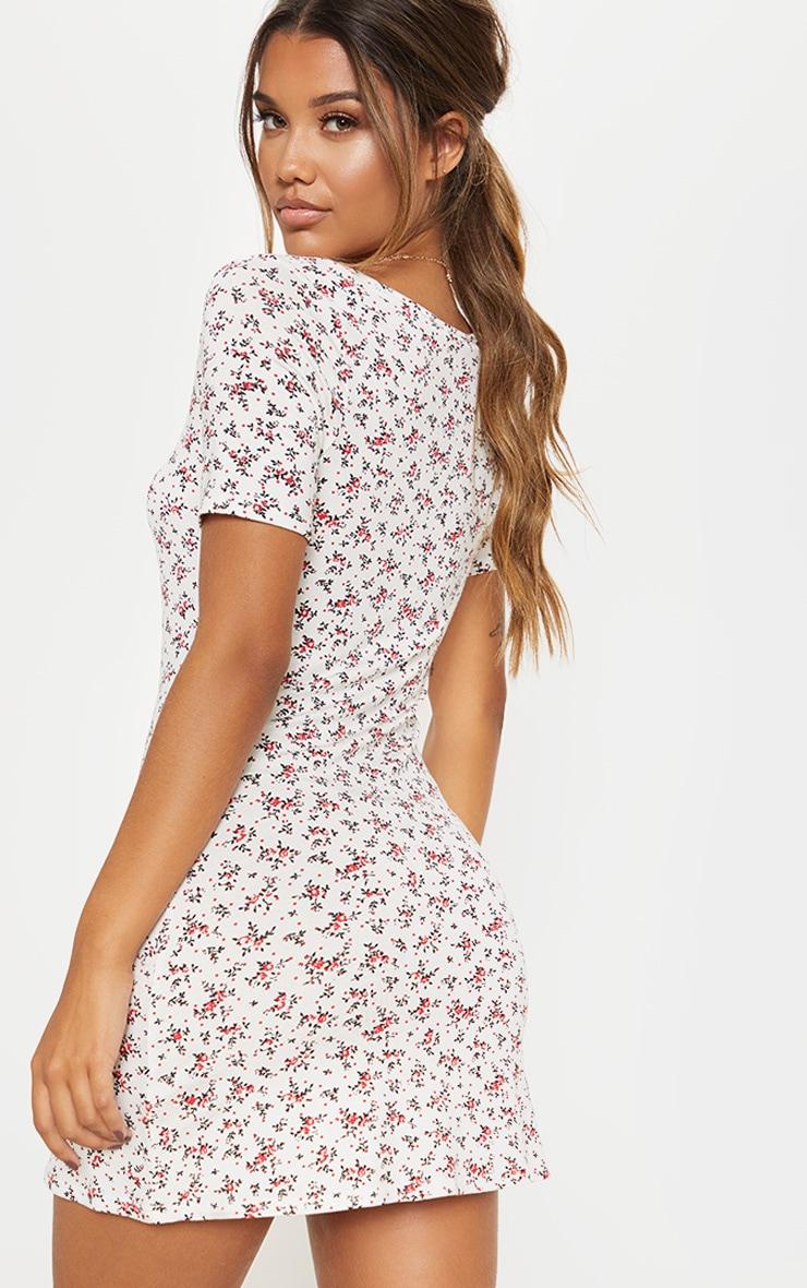 White Ditsy Floral Print Square Neck Shift Dress 2