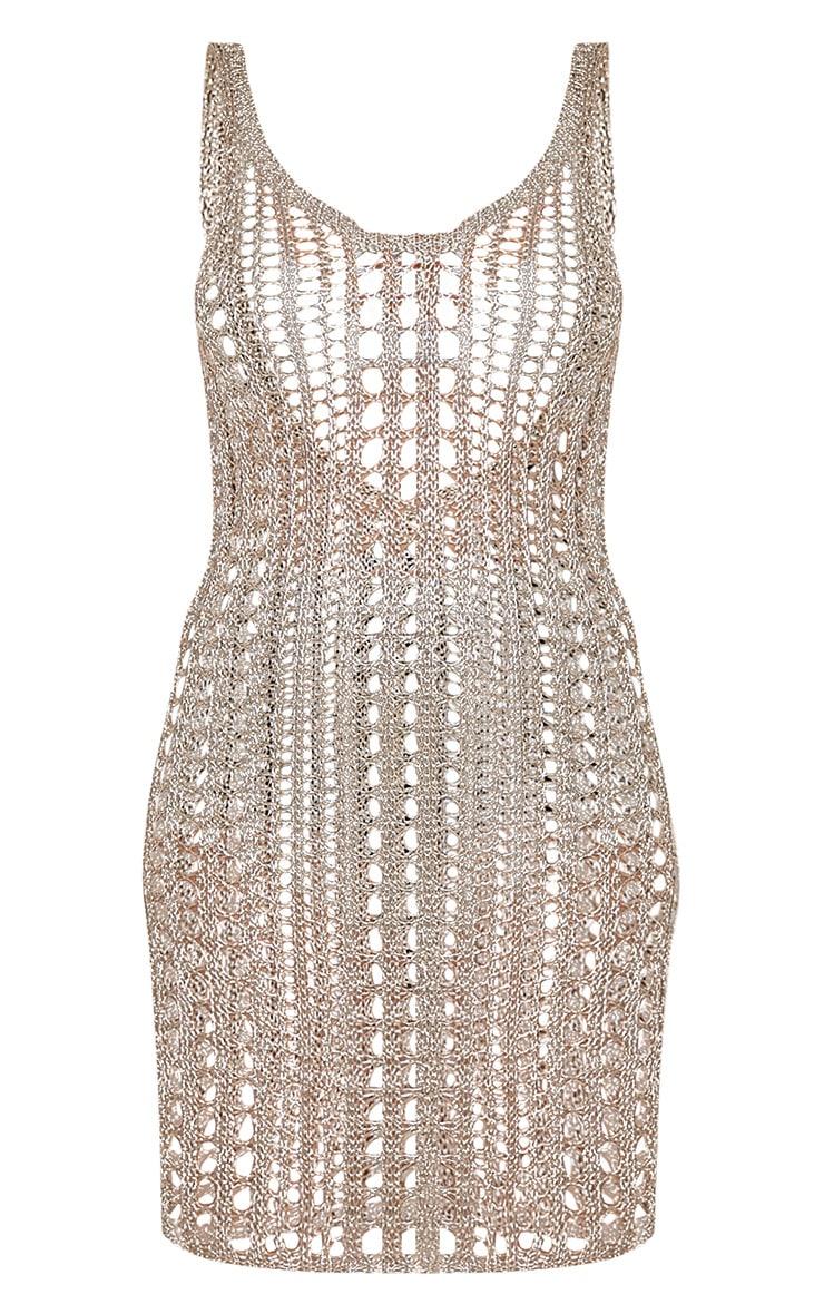 Peyton robe tricotée ajourée argent métallisé à dos échancré 3