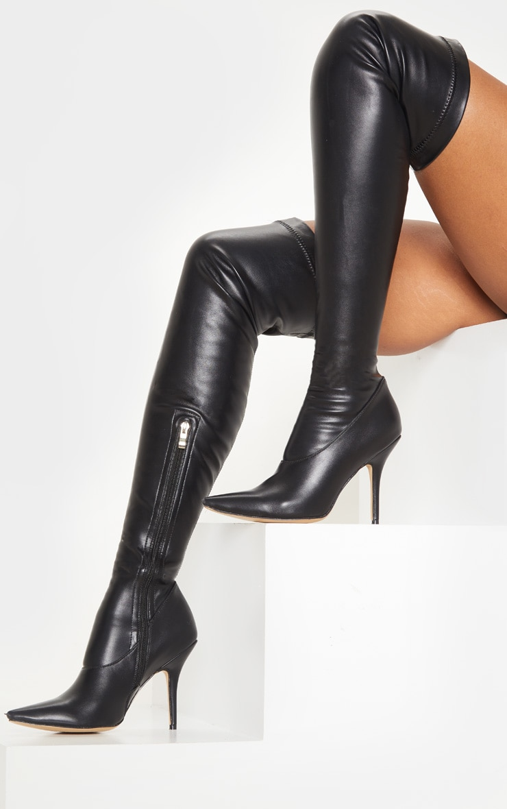 Black PU Thigh High Sock Boot 2