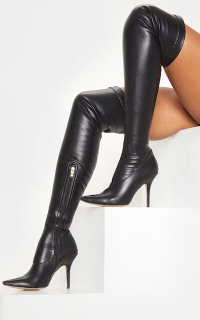 Black PU Thigh High Sock Boot