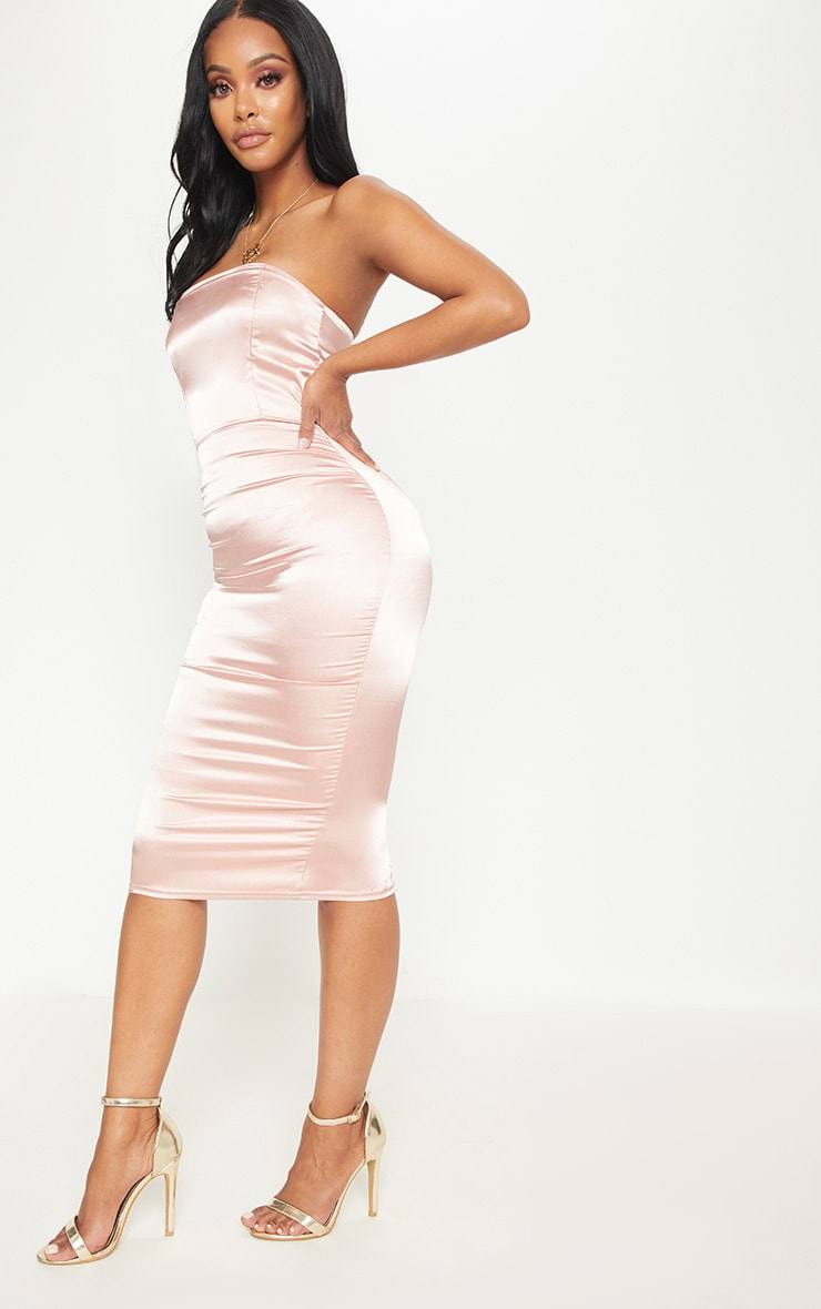 Shape Rose Satin Bandeau Midi Dress 4