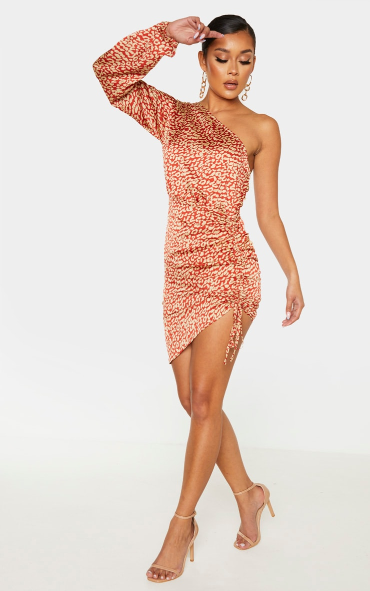 Orange Leopard Print One Shoulder Ruched Satin Bodycon Dress 4