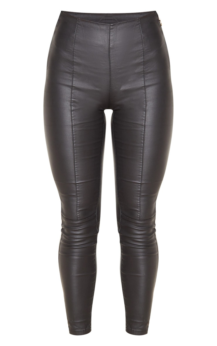 Black Zip Side Coated Jeans  3