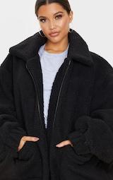 Black Oversized Borg Pocket Front Coat 5