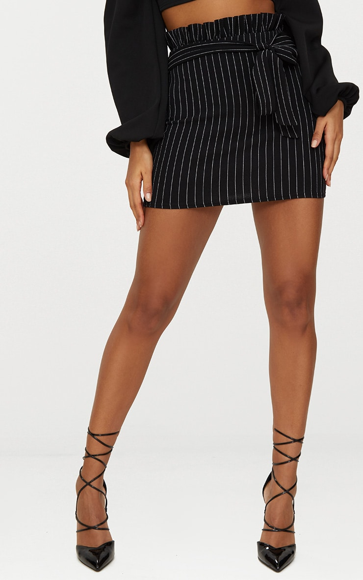 Black Pinstripe Paperbag Mini Skirt  2