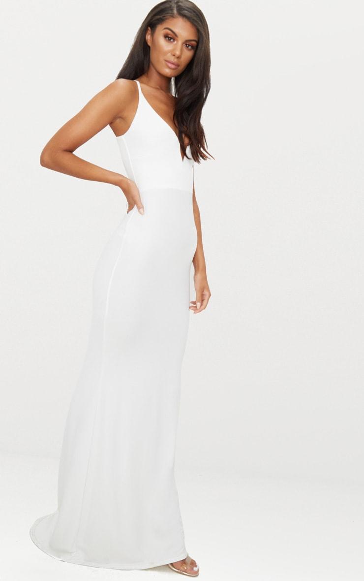 White V Bar Backless Maxi Dress 3