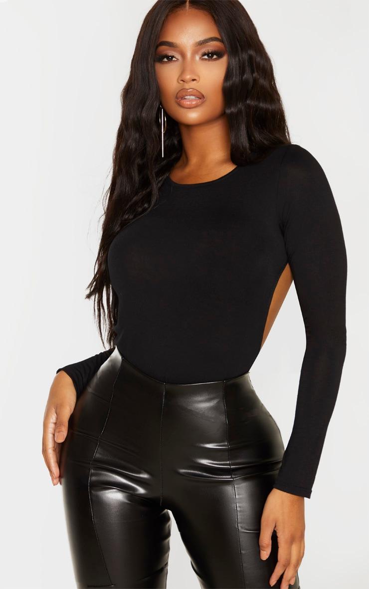 Shape Black Jersey Long Sleeve Backless Bodysuit 2