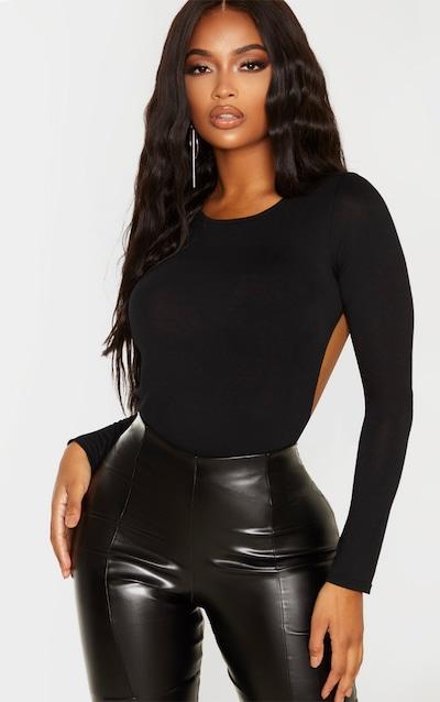 Shape Black Jersey Long Sleeve Backless Bodysuit