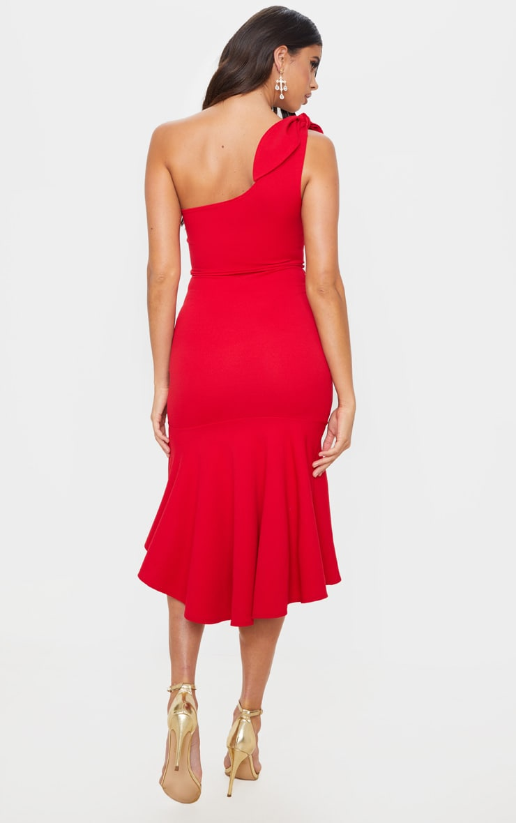 Red Tie Shoulder Asymmetric Hem Midi Dress 2