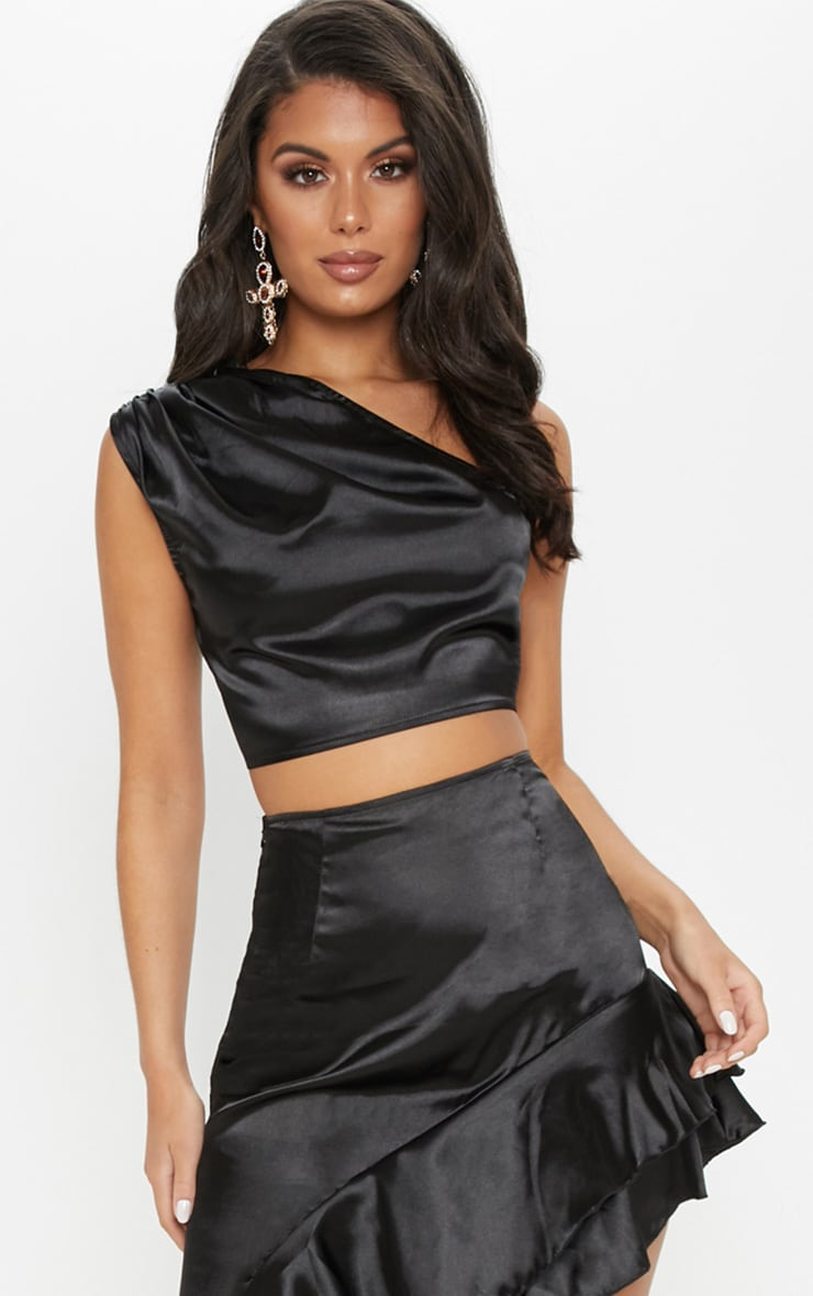 Black One Shoulder Satin Crop Top 1