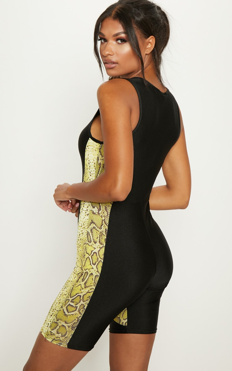 Black Contrast Lime Snake Unitard 2