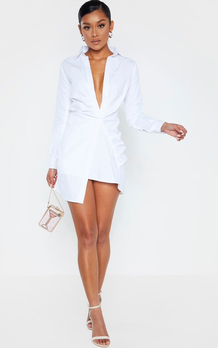White Ruched Front Shirt Dress 4