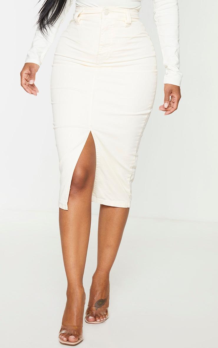 Shape Ecru Denim Split Front Midaxi Skirt 2