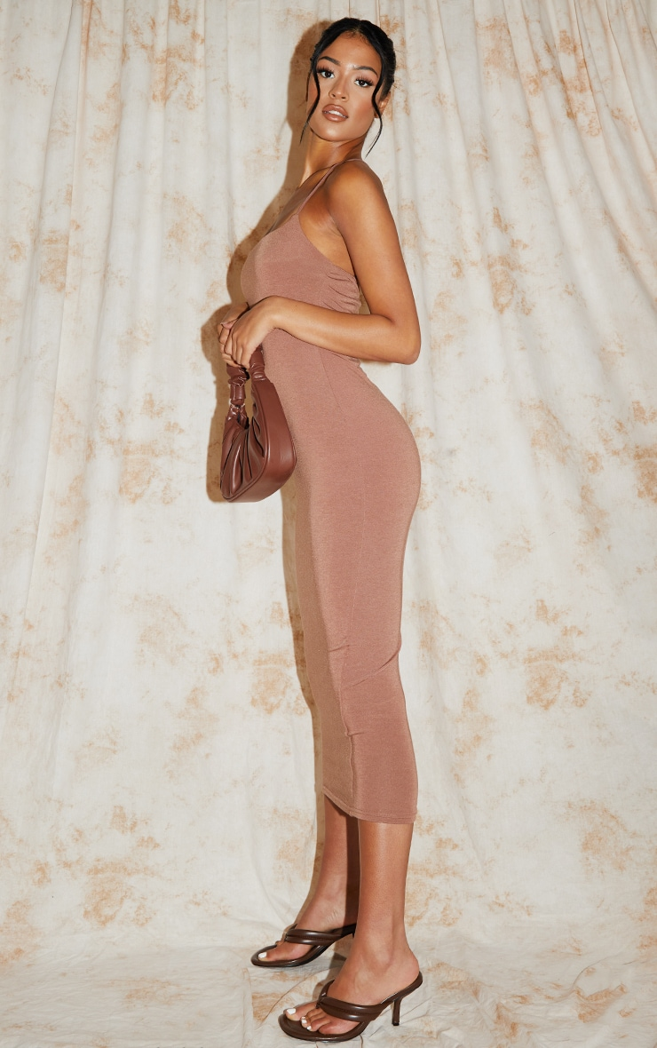 Recycled Tall Nude Contour Jersey Strappy Ruched Midi Dress 3