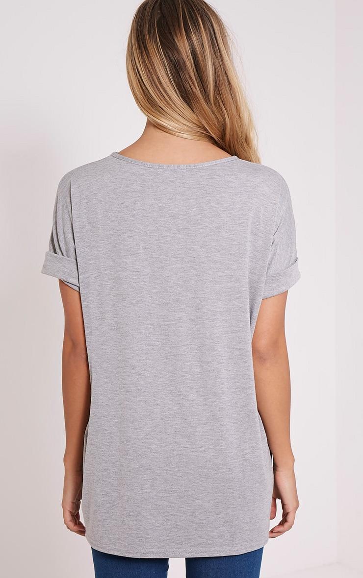 Basic t-shirt surdimensionné à col en V gris 2