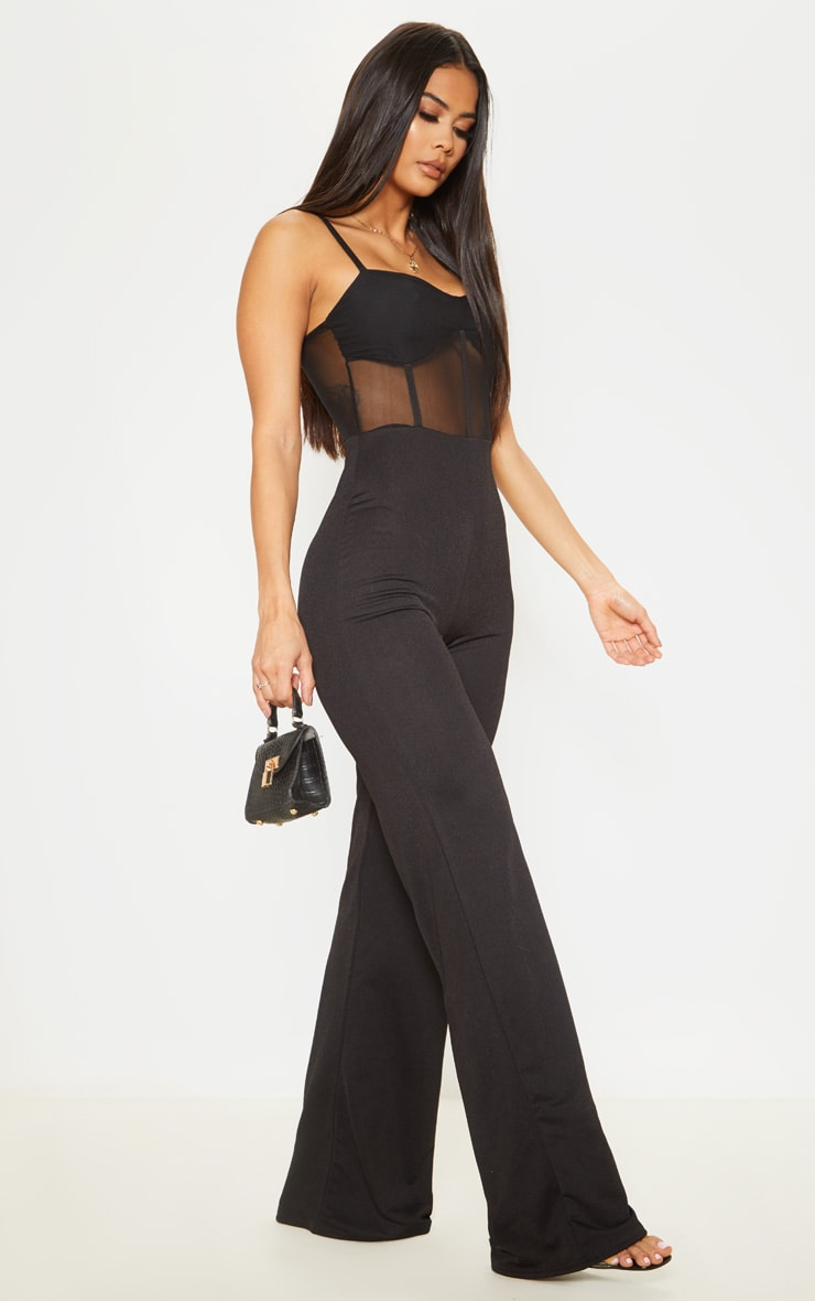Black Mesh Bodice Wide Leg Jumpsuit 1