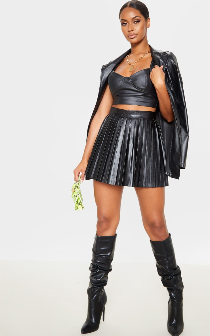 Black Faux Leather Pleated Skater Skirt  5