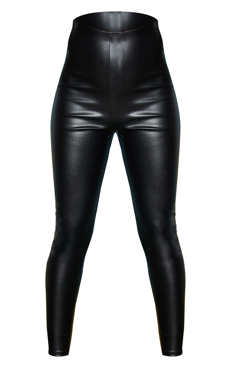 Black Faux Leather High Waisted Leggings 5