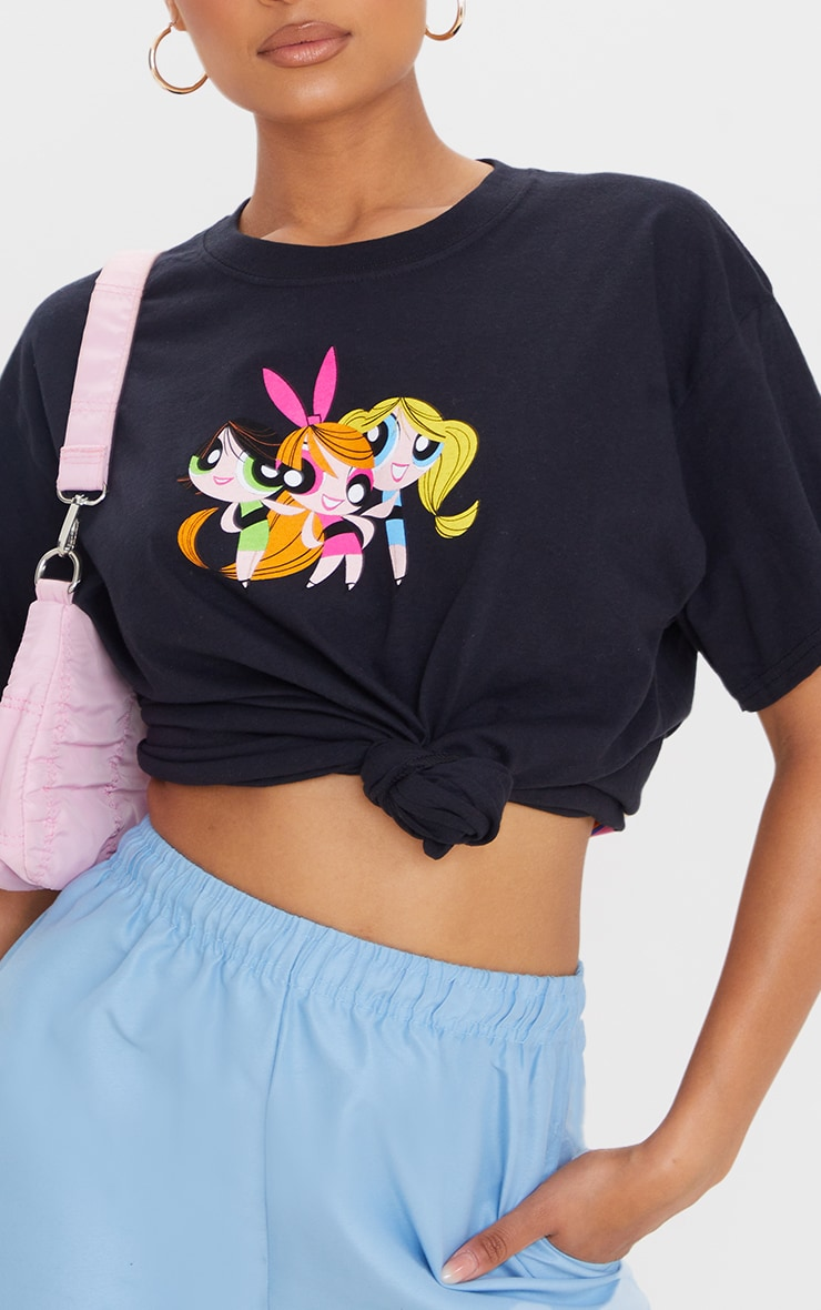 Black Powerpuff Girls Front And Back Print T Shirt 4