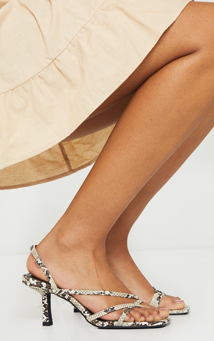 Snake Print Low Heel Strappy Sandals 2