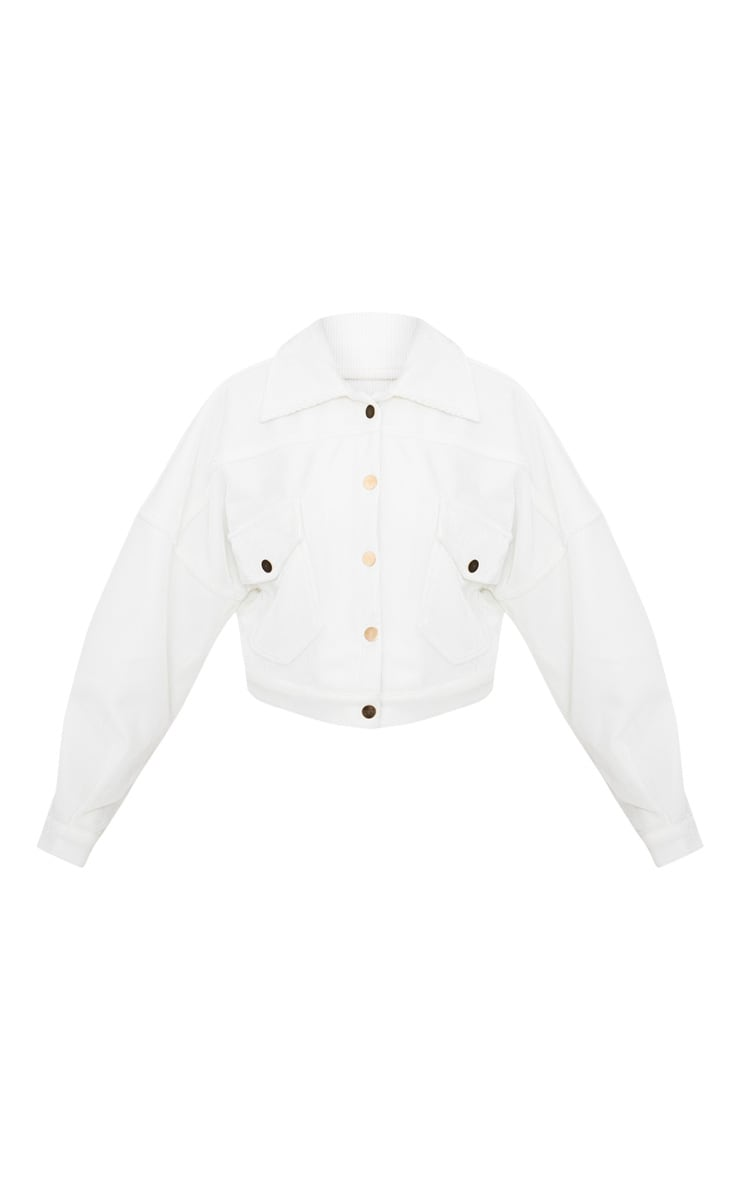 White Cord Oversized Trucker Jacket 4