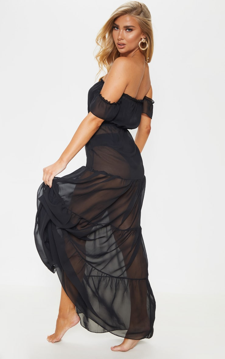 Black Bardot Frill Tiered Chiffon Maxi Beach Dress 2