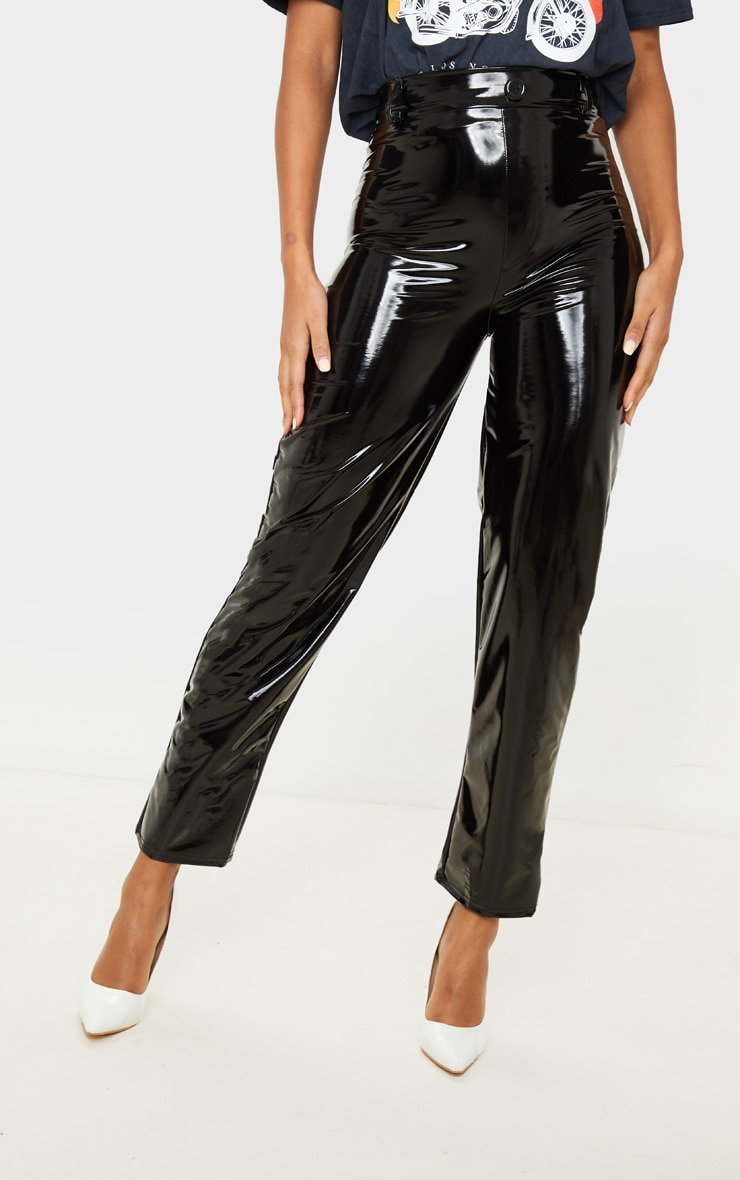 Black Vinyl Straight Leg Trouser 2