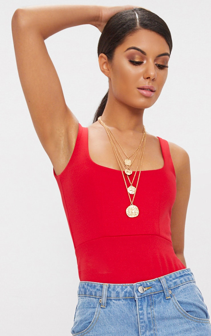Red Scuba Square Front Thong Bodysuit  6
