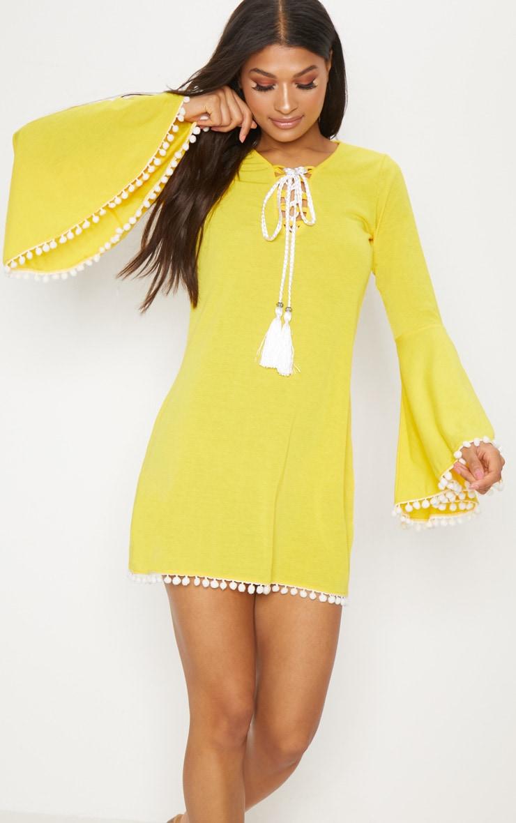 Yellow Pom Pom Lace Trim Fluted Sleeve Shift Dress 1
