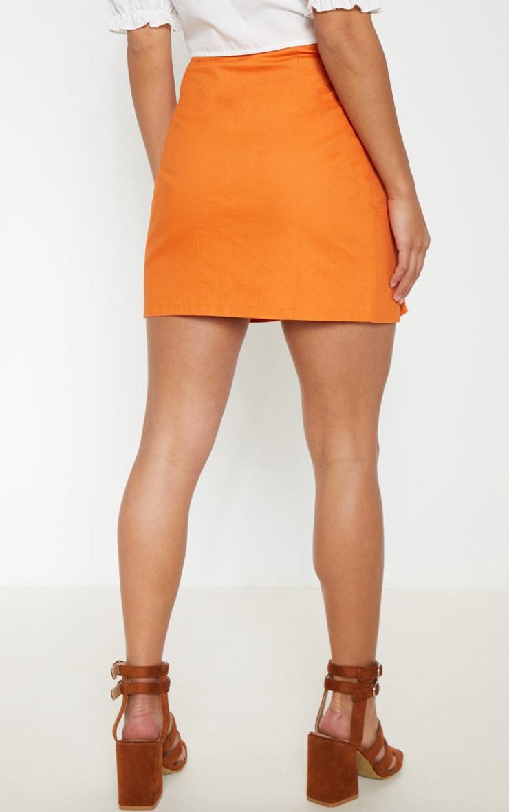 Petite Orange Button Up Tie Front Skirt 3