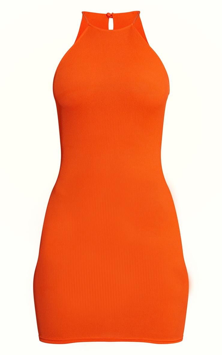 Orange Ribbed High Neck Scoop Armhole Bodycon Dress 5