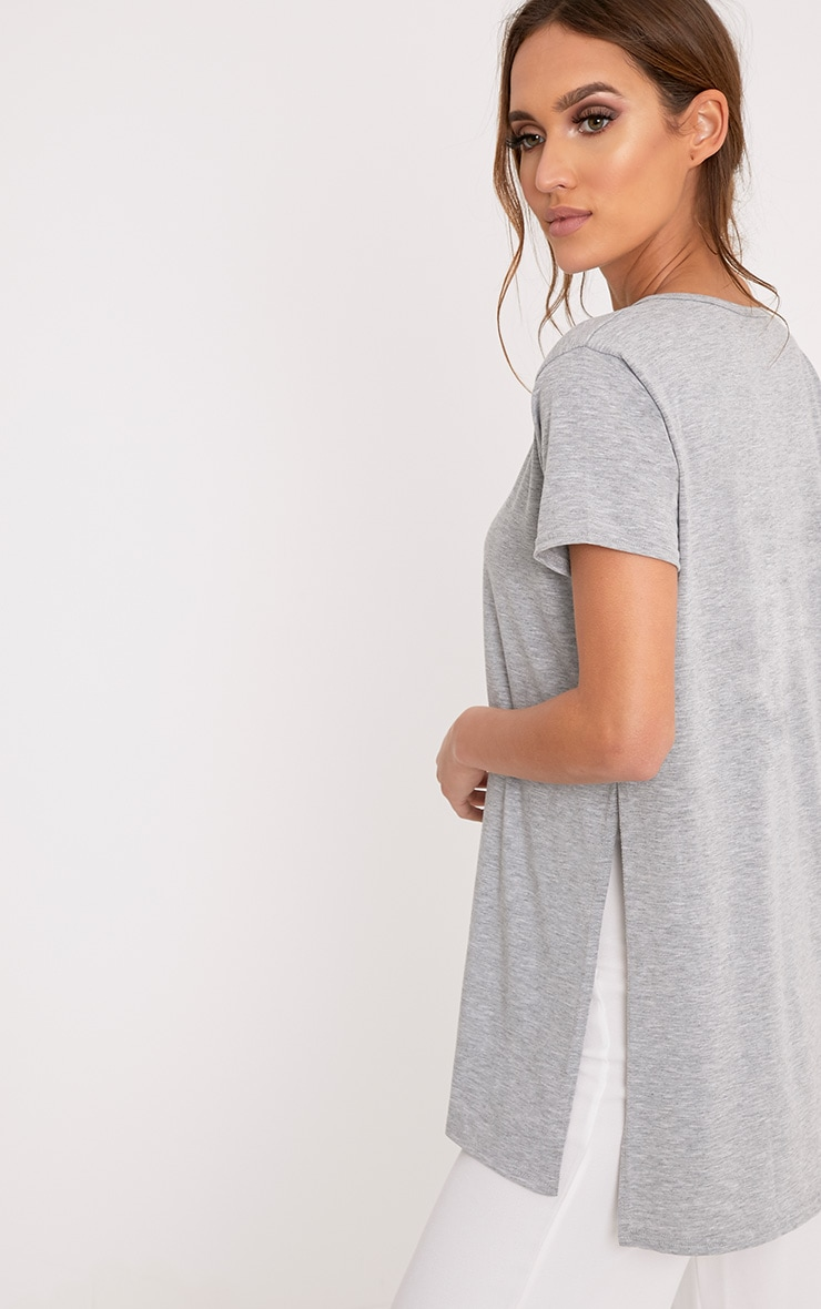 Grey Side Split T-Shirt 2