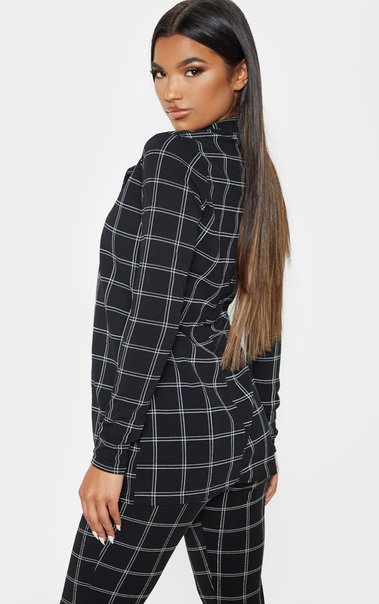 Black Check Fitted Blazer 2