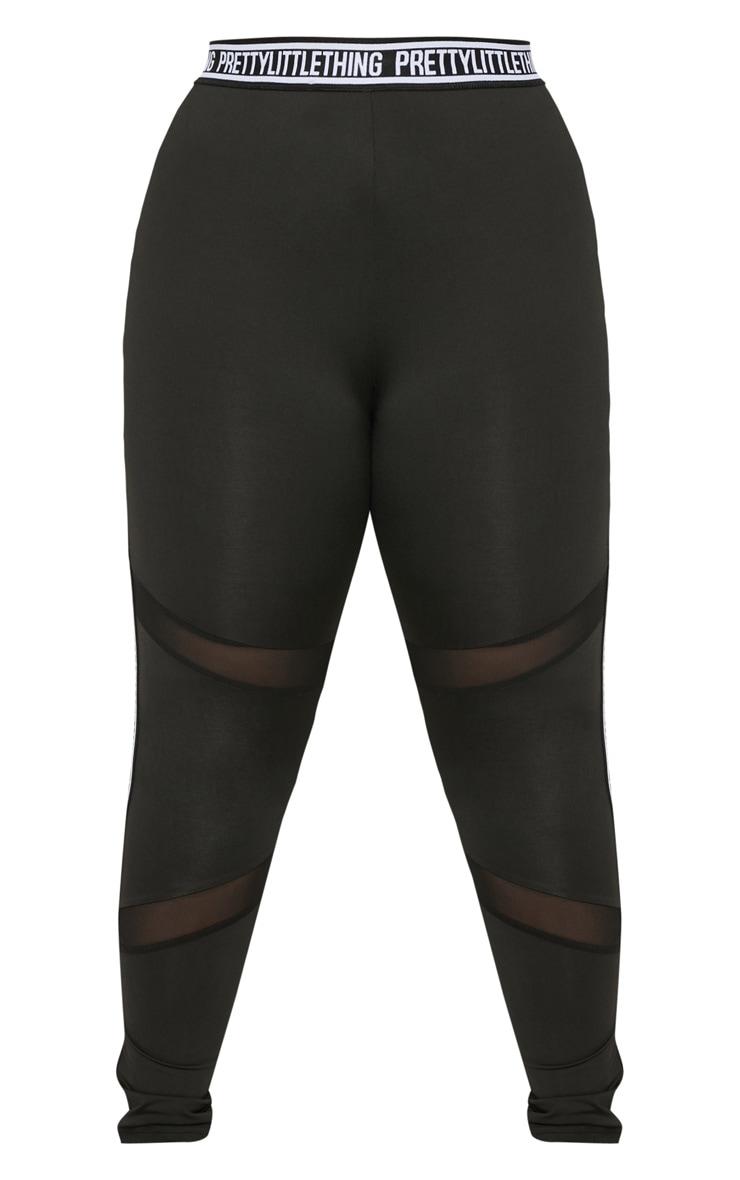 PRETTYLITTLETHING Plus Black Brand Legging 3
