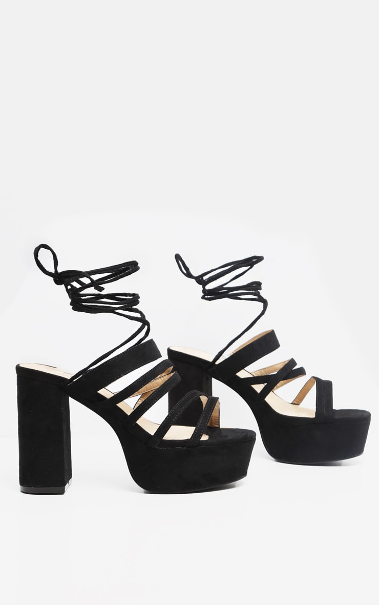 Black Platform Strappy Lace up Block Heel Sandal 3