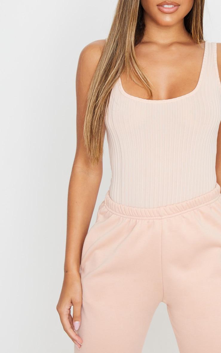 Blush Rib Scoop Neck Sleeveless Bodysuit 6