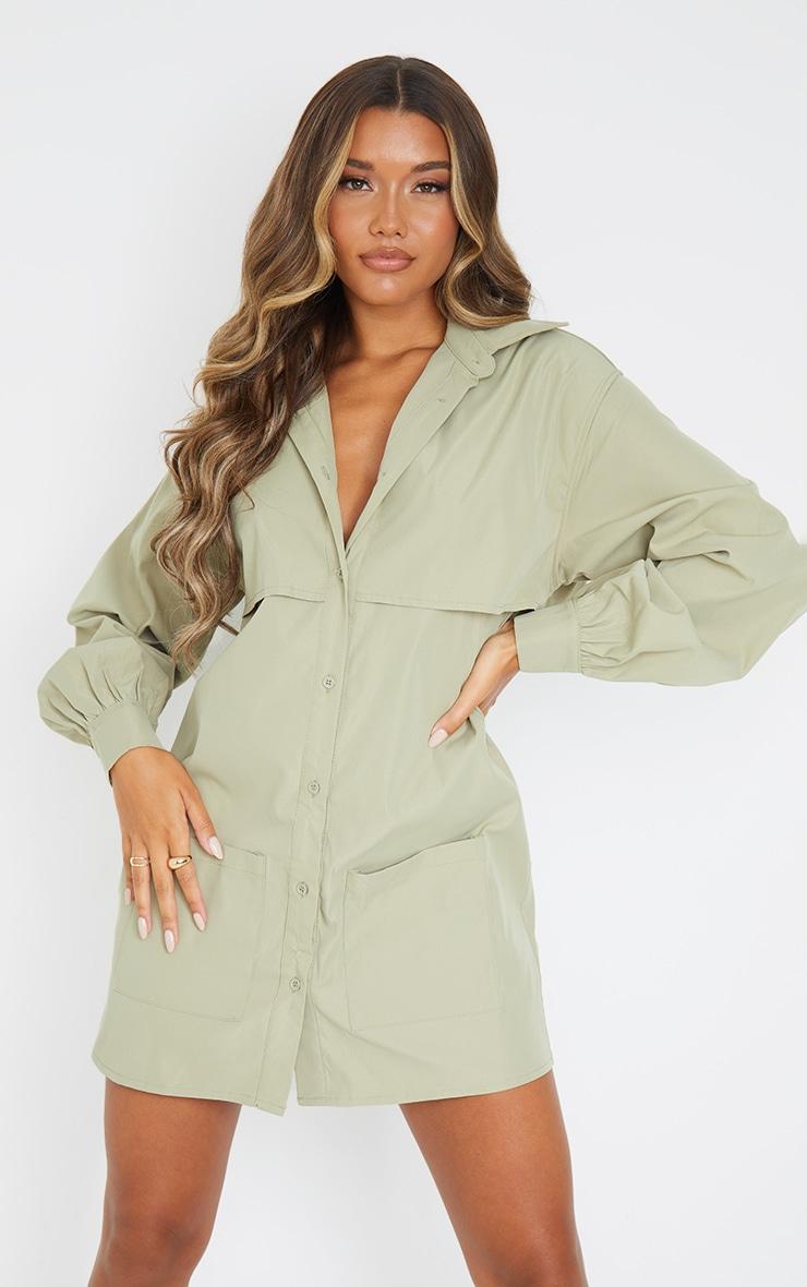 Khaki Woven Overlay Pocket Detail Shirt Dress 1