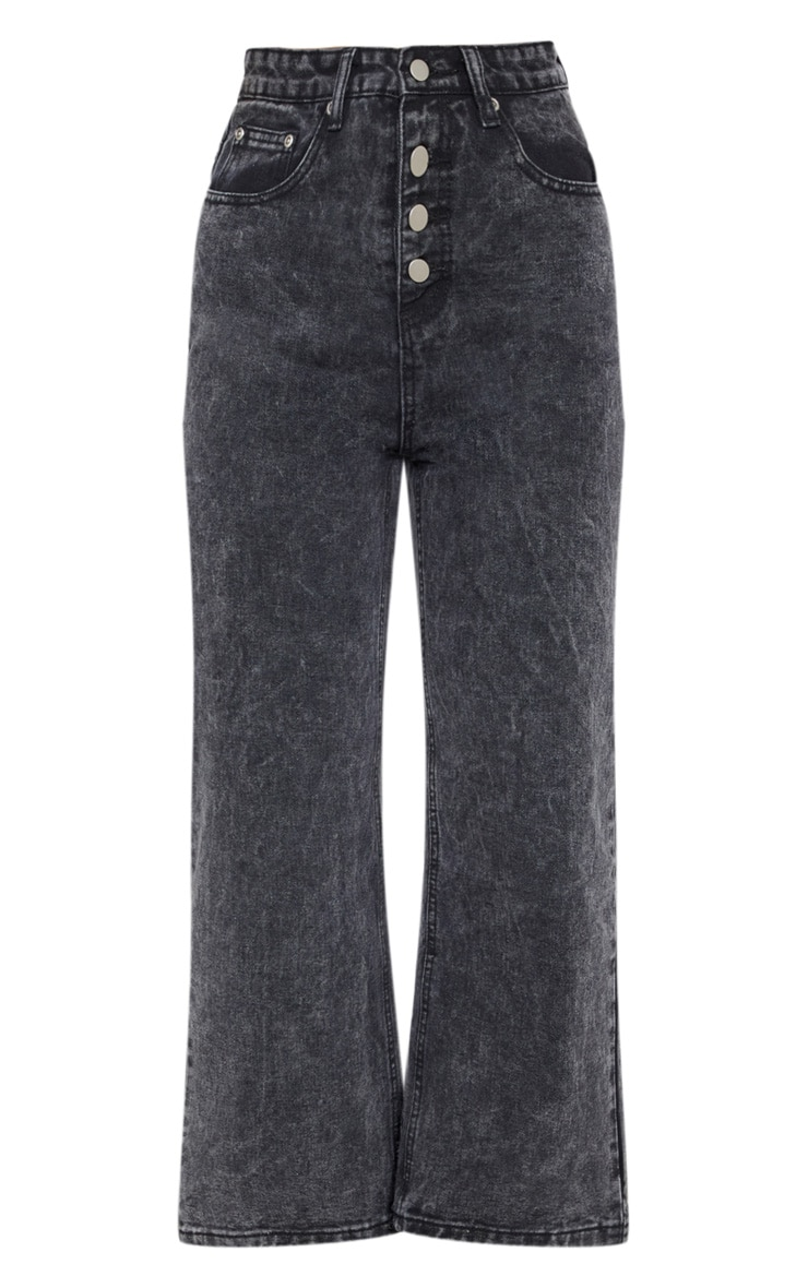 Washed Black Button Through Wide Leg Cropped Jean 3