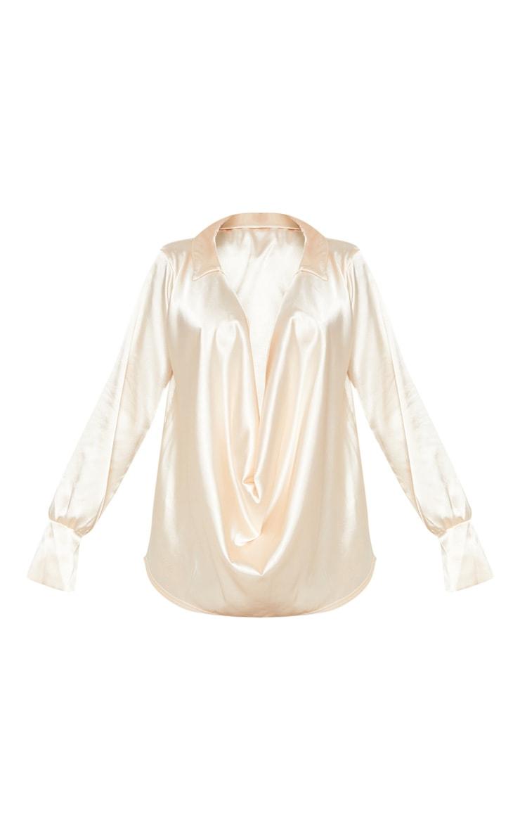 Cream Extreme Cowl Longline Satin Shirt 3