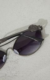 PRETTYLITTLETHING Black Branded Temple Cat Eye Aviator Sunglasses 3