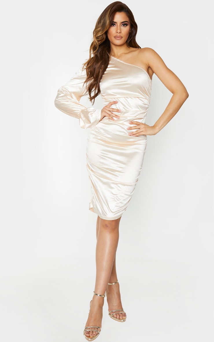 Tall Champagne One Shoulder Satin Ruched Side Midi Dress 1