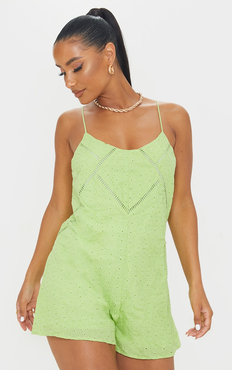 Lime Broderie Anglaise Strappy Smock Playsuit 1