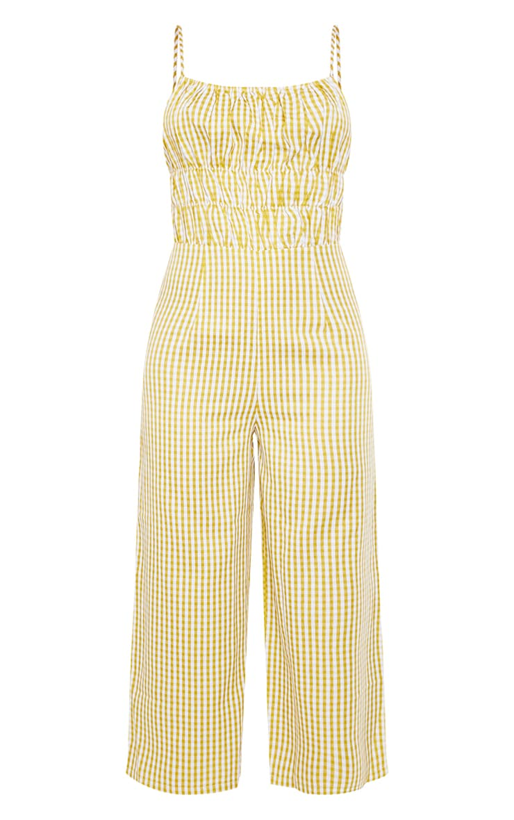 Lime Gingham Strappy Ruched Culotte Jumpsuit 5